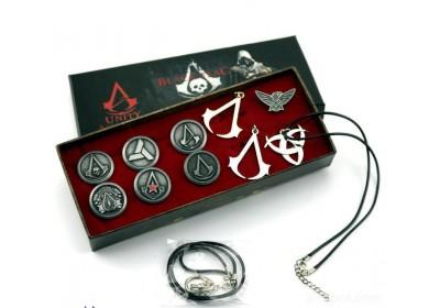 动漫游戏周边 刺客信条项链套装鬼头3CM胸针项链戒指十款纪念
